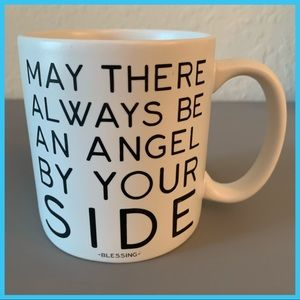 White & Black Quote Coffee Mug Angel By Your Side